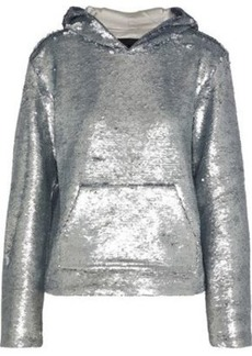 Rta Woman Ainsley Sequined Cotton-blend Hoodie Silver