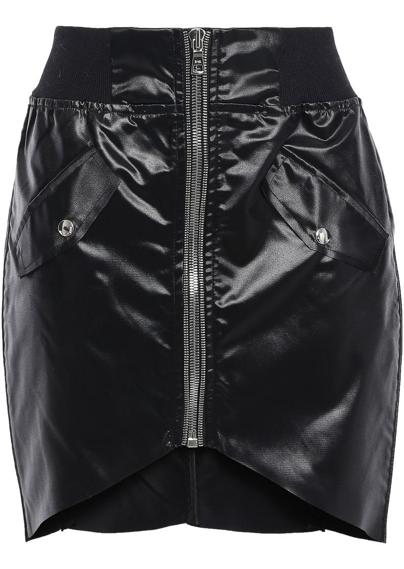 Rta Woman Asymmetric Glossed-shell Mini Skirt Black