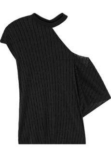 Rta Woman Axel Cutout Flocked Stretch-knit Top Black