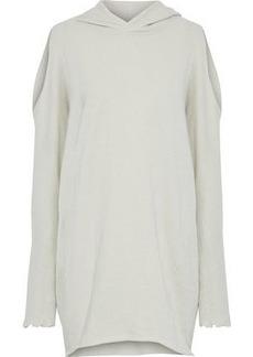 Rta Woman Cold-shoulder Metallic Distressed Cotton-blend Hooded Mini Dress Ivory