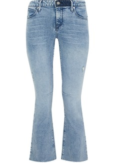 Rta Woman Cropped Frayed Mid-rise Bootcut Jeans Light Denim