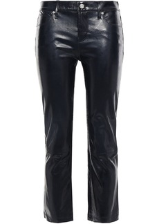 Rta Woman Cropped Glossed-leather Bootcut Pants Midnight Blue