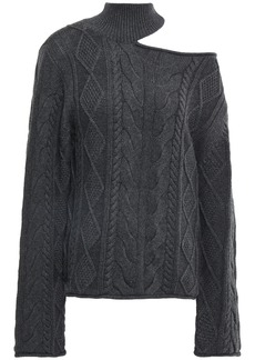 Rta Woman Cutout Cable-knit Cotton Turtleneck Sweater Dark Gray