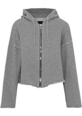 Rta Woman Distressed French Cotton-blend Terry Hooded Sweatshirt Gray