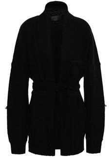 Rta Woman Distressed Knitted Cardigan Black