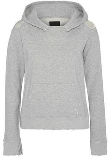 Rta Woman Distressed Mélange French Cotton-terry Hoodie Light Gray