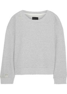 Rta Woman Distressed Mélange French Cotton-terry Sweatshirt Gray