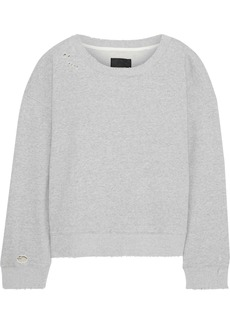 Rta Woman Distressed Mélange French Cotton-terry Sweatshirt Gray
