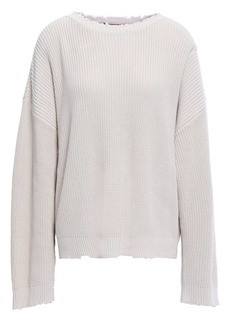 Rta Woman Distressed Ribbed Cotton Sweater Neutral