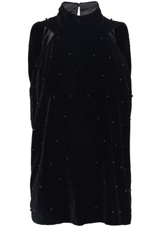 Rta Woman Embellished Velvet Top Black