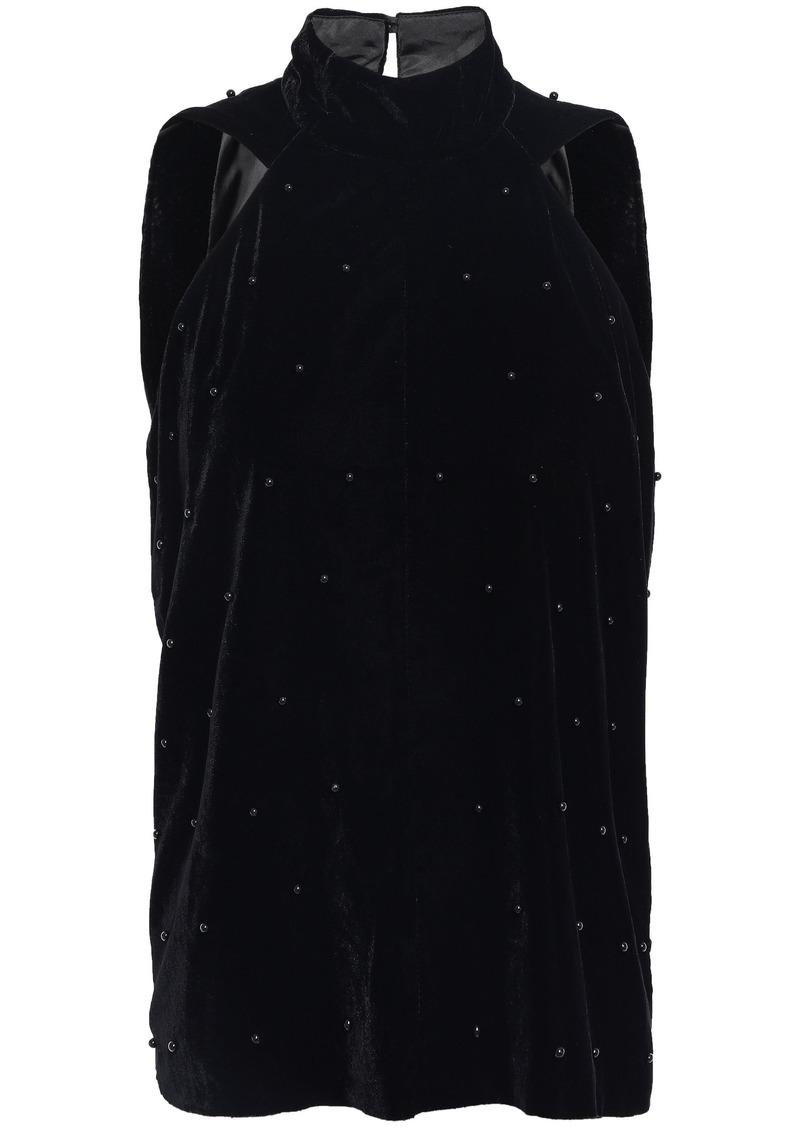 Rta Woman Embellished Velvet Top Black