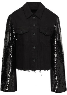 Rta Woman Haylee Sequin-embellished Denim Jacket Black