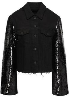 Rta Woman Haylee Sequin-embellished Denim Jacket Black