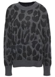 Rta Woman Intarsia Cotton And Lurex-blend Sweater Dark Gray