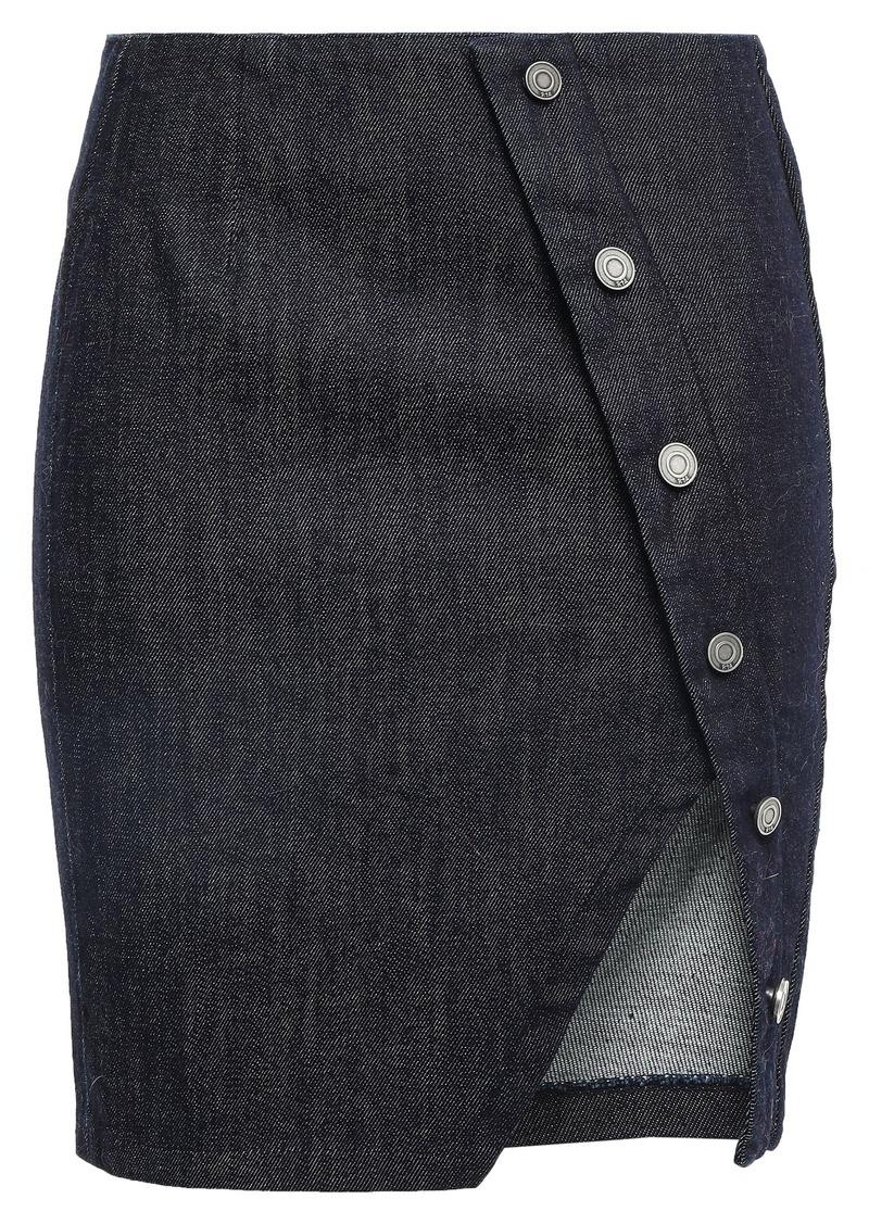 Rta Woman Jolene Asymmetric Button-detailed Denim Mini Skirt Dark Denim