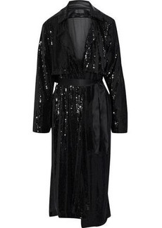Rta Woman Karina Satin-trimmed Sequined Jersey Trench Coat Black