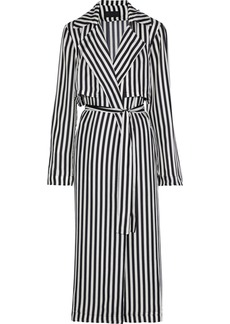 Rta Woman Karina Striped Silk Trench Coat Black