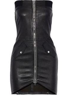 Rta Woman Kenzie Strapless Zip-detailed Leather Mini Dress Black