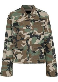Rta Woman Luna Printed Cotton-twill Jacket Army Green