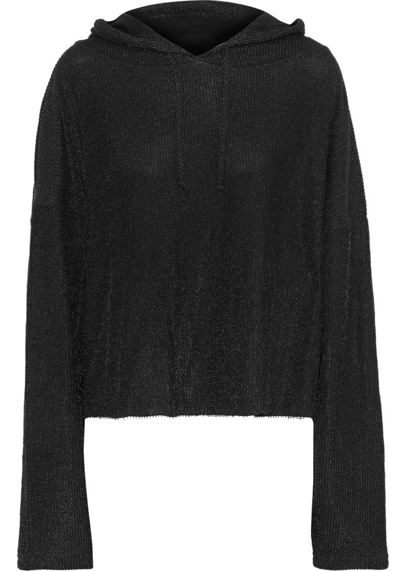 Rta Woman Marvin Cropped Metallic Knitted Hoodie Black