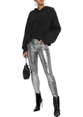 Rta Woman Marvin Cropped Metallic Knitted Hoodie Black