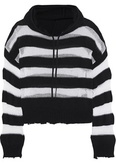 Rta Woman Marvin Striped Open-knit Cotton Hooded Sweatshirt Multicolor