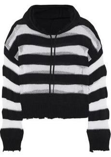 Rta Woman Marvin Striped Open-knit Cotton Hooded Sweatshirt Multicolor