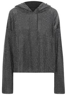 Rta Woman Metallic Open-knit Hooded Sweatshirt Silver
