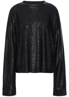 Rta Woman Metallic Stretch-knit Top Black