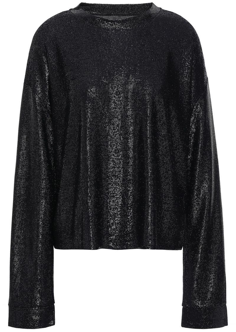 Rta Woman Metallic Stretch-knit Top Black