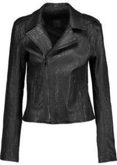 Rta Woman Nico Snake-effect Leather Biker Jacket Black
