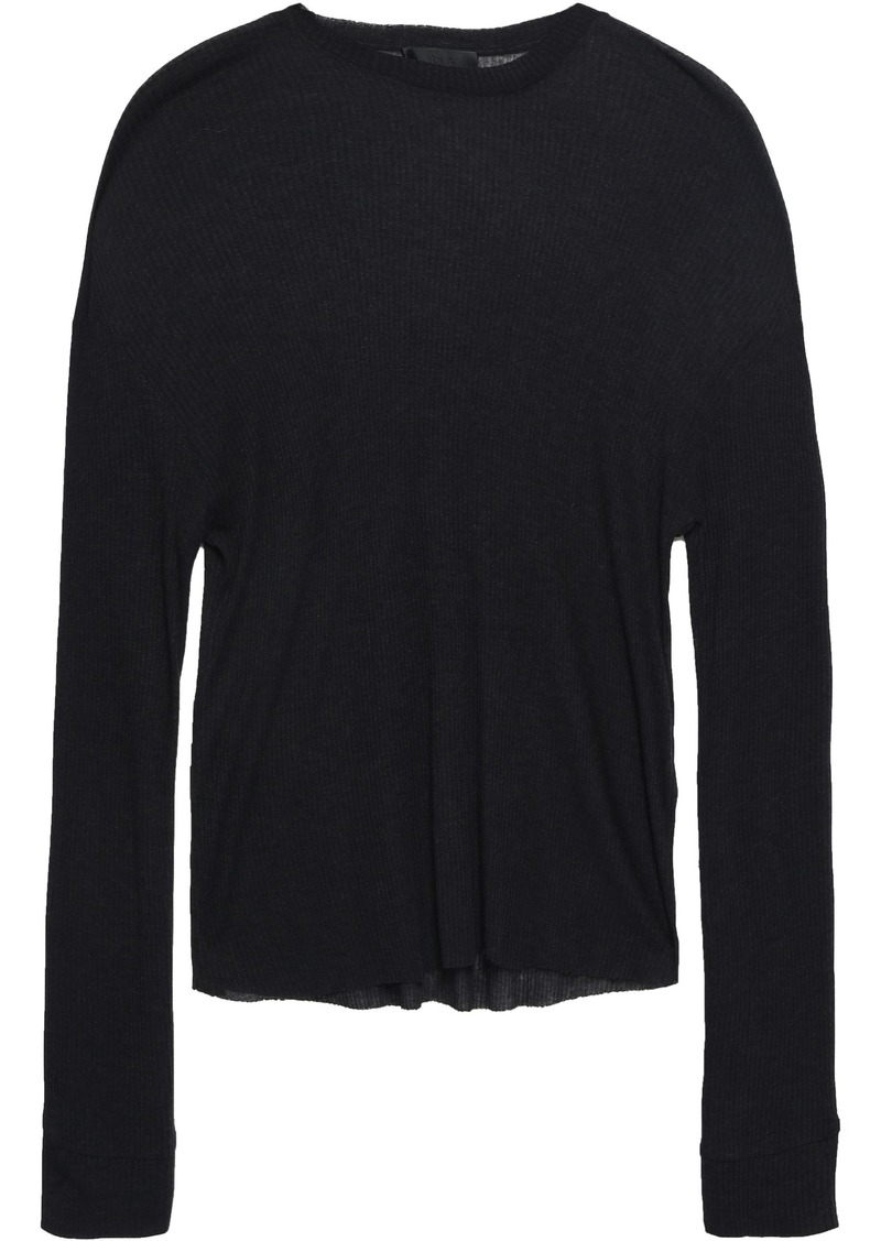 Rta Woman Ribbed Stretch-knit Top Charcoal