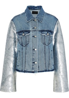 Rta Woman Sequin-paneled Distressed Denim Jacket Light Denim