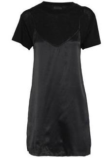 Rta Woman Winona Layered Silk-satin And Cotton-blend Jersey Mini Dress Black