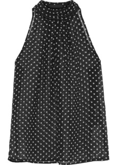 Rta Woman Yvette Gathered Polka-dot Chiffon Top Black