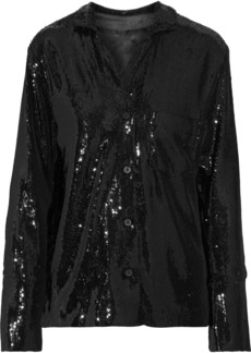 Rta Woman Yvonne Sequined Stretch-knit Jacket Black