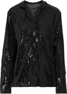 Rta Woman Yvonne Sequined Stretch-knit Jacket Black
