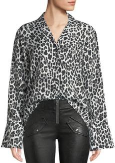 RtA Yvonne Button-Down Leopard-Print Silk Blouse