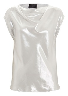RtA Selma Metallic Cowl Neck Top
