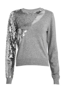 RtA Teagan Sequin Cut-Out Sweater