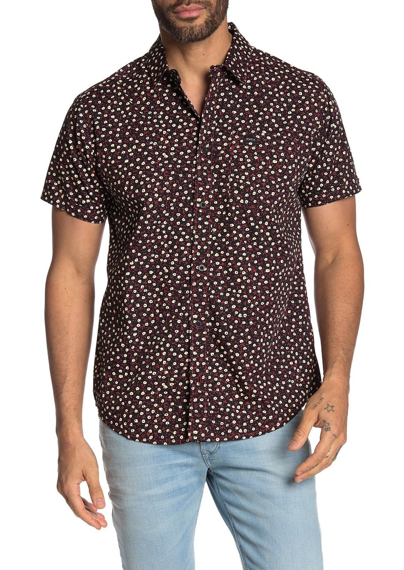 RVCA Micro Floral Short Sleeve Slim Fit Shirt