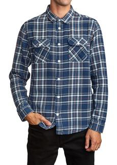 RVCA Avett Plaid Regular Fit Button-Up Twill Shirt