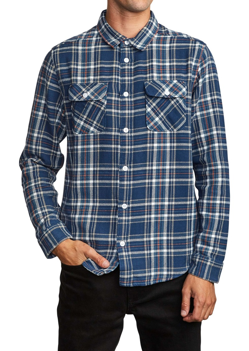 RVCA Avett Plaid Regular Fit Button-Up Twill Shirt