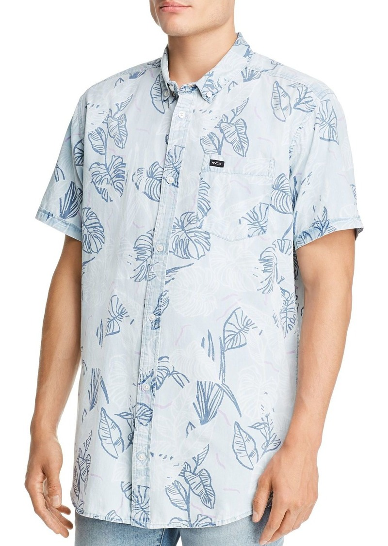 RVCA Dead Flag Short-Sleeve Leaf-Print Regular Fit Button-Down Shirt