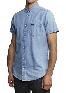 RVCA Dead Flag Slim Fit Washed Chambray Shirt