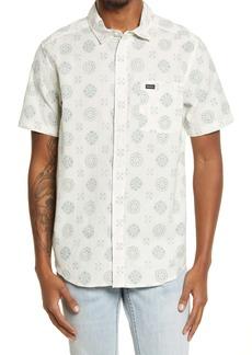 RVCA Endless Seersucker Regular Fit Floral Short Sleeve Button-Up Shirt