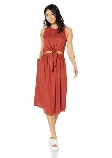 RVCA Junior's Arizona Fitted MIDI Dress Burnt red L