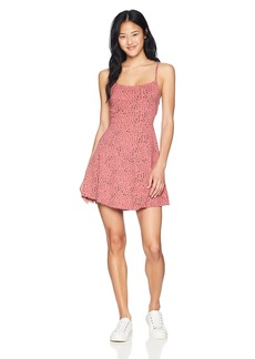 RVCA Junior's Dewdrop Spaghetti Strap Dress Horizon red XL