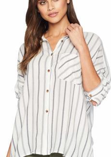 RVCA Junior's Holt Stripe Long Sleeve Woven Shirt  XS