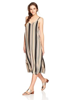 RVCA Junior's Jasmine Stripe V-Neck MIDI Dress  XL